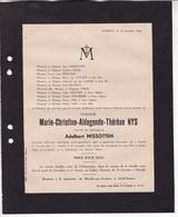 HASSELT NYS Marie-Christine Veuve Adalbert MISSOTTEN 1865-1945 Famille POLIS REGOUT DESTREE - Obituary Notices