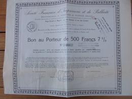 FRANCE - 49 - ANGERS  1923 - STE FRANCAISE IMPRIMERIE ET PUBLICITE - BON DE 500 FRS 7% - EMISSION 250 BONS, PEU COURANT - Unclassified