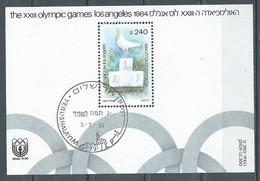 Israel Bloc-feuillet YT N°27 Jeux Olympiques De Los Angeles 1984 Oblitéré ° - Blocs-feuillets