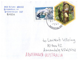 (P 17 Side) Russia Posted To Australia - (1 Letter + 1 World Cup On Postcard) - 1992-.... Fédération