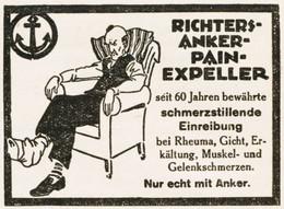 Original-Werbung/ Anzeige 1928 - RICHTER ANKER PAIN-EXPELLER / CARTOON - Ca. 65 X 45 Mm - Pubblicitari