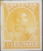 L) 1888 VENEZUELA, DIE PROOFS, AMERICAN BANK NOTE, SIMON BOLIVAR, ESCUELAS, 20 BOLIVARES, ORANGE, XF - Venezuela
