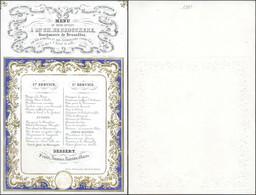 Carte En Porcelaine : Menu Du Diner Offert à M. De Brouckere, Bourgmestre De Bruxelles (1848), Dorure. TB - Menus