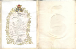 Carte En Porcelaine : Banquet Offert Par Le Conseil Communal De Bruges Au Roi Et à La Famille (20 Aout 1853) Lith. A. A - Menú
