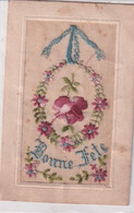 Carte Brodée Bonne Fete Decor Ruban Fleurs  Recto Verso - Embroidered