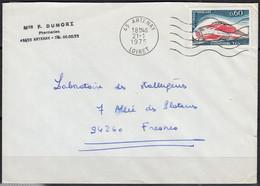 TURBOTRAIN  T.G.V.001  Y.et.T. 1802 SEUL Sur Enveloppe Complète De 45 ARTENAY Postée Le 21 1 1975 Pour 94260 FRESNES - Marcophilie (Lettres)