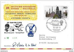 82 - 56 - Carte Allemande Vol Ballon Berlin 1987 - Montgolfier