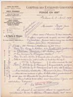 BORDEAUX COMPTOIR DES ENTREPOTS GIRONDINS 2 DOCUMENTS VENTE DE VIN RECOLTE 1906 CHATEAU BERNON CHARLUS DE VILLENEUVE DIR - Frankreich