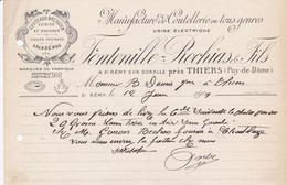 SAINT REMY SUR DUROLLE FONTENILLE ROCHIAS MANUFACTURE DE COUTELLERIE SALADEROS BOUCHER ANNEE 1909 - Frankreich