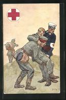 Künstler-AK Rotes Kreuz, Sanitäter Tragen Verwundeten Vom Felde - Croce Rossa