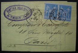 Vierzon 1881, Comptoir Industriel Peaudecerf Et Cie Oblitération Sur Une Paire Du N° 90 - Marcofilia (sobres)