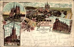 Lithographie Limburg An Der Lahn, Dom, Postamt, Evangelische Kirche, Totalansicht - Otros