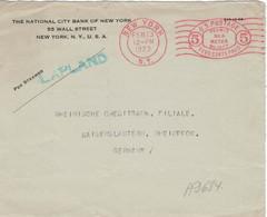 National City Bank NY 1923 - Permit No. 6 Meter-Stamp 5c - Dampfer Lapland (Cunard Line -> White Star)  Nur BVS - Lehman - Vereinigte Staaten