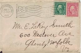 Westminster MD Maryland 1918 - Bickerdike Flaggenstempel - Nach Ghent Norfolk VA - Vereinigte Staaten