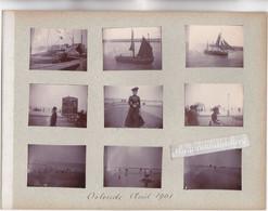 PHOTO - BELGIQUE - OSTENDE - BATEAUX De PECHE Et VUES DIV De La DIGUE Et  PLAGE En Août 1901 9 Photos Format 5cm Sur 4 S - Andere Verzamelingen