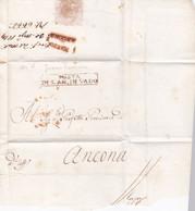 1814 - Marque Postale POSTA DI S. AN. IN VADO Sur Enveloppe Pliée  Vers Ancona, Marche, Italie - Gouvernement Provisoire - 1. ...-1850 Prephilately