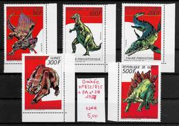Préhistoire Dinosaure Ours Stégosaure - Guinée N°832 à 835 & PA N°218 1987 ** - Prehistorics