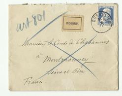 N°76 - 25 C. Grosse Barbe Obl. Sc GOSSELIES Sur Enveloppe Du 6-4-1911 Vers Montmorency + Etiquette INCONNU - 16215 - 1905 Breiter Bart