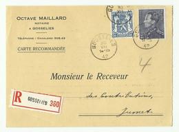 2Fr.25 POORTMAN + 50c. Petit Sceau De L'état Obl. Sc GOSSELIES Sur Carte Recommandée Du 30-II-1942 Vers Jumet - 16219 - 1936-1951 Poortman