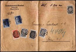 A6794) DR Infla Wert-Brief V. Magdeburg 03.08.23 N. Berlin M. Seltener Mischung Mit Marken Mit Perfins / Firmenlochungen - Covers & Documents