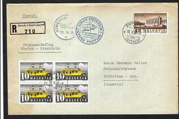 SUISSE Poste Aérienne 1938:  LSC Avec Bloc De 4 Du ZNr.210x Et ZNr. 213, CAD Spéciaux - Posta Aerea