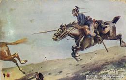 Militaria Patriotique Illustrateur Signé LANCEUR BELGE LA POURSUITE    Recto Verso - Patriotic