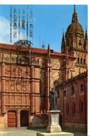 Espagne Castilla Y Leon Castille Salamanca Fachada De La Universidad Facade De L Université Statue Patrimoine Edifice - Salamanca