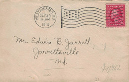 Westminster MD Maryland 1914 - Bickerdike Flaggenstempel - Nach Jarretsville MD - Vereinigte Staaten