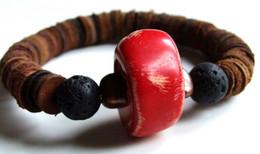 Bracelet Homme, Bracelet Pierre, Corail Rouge, Lave, Cuir, Bijou Original, Bijou Naturel, Bracelet Ethnique, Rustique, - Bracelets