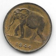 Belgium Congo 1 Franc  1944   Km 26  Vf+ - 1934-1945: Leopold III