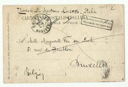 ITALIE 5c. Obl. Sur CV Du 8 Mars 1901 Vers La Belgique Et Griffe Non Admis Au Transport ... - 16081 - Otros