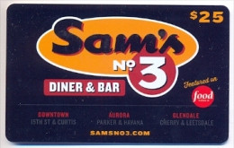 Sam's Nº 3  U.S.A.  Gift Card For Collection, Without Value # 1 - Gift Cards