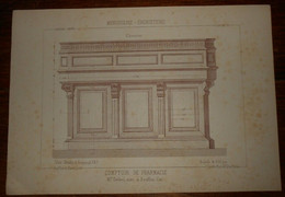 Comptoir De Pharmacie. Menuiserie - Ebénisterie. M. Delsol, Menuisier à Souillac Dans Le Lot. 1887. - Other Plans