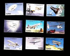 Uganda 1987 Transportation Innovations ,airplanes ,airship SCOTT No,545-553 , I202006 - Uganda (1962-...)