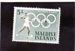 B - 1964 Maldive . Lancio Del Peso - Olimpiadi Di Tokyo - Atletismo