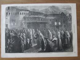 Gravure 1863  LE PUY   Procession Des   Pénitents   Confalais   Au Puy Le Jeudi Saint - Le Puy En Velay