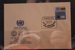 Lietuva; Aufnahme In Die UNO, 1992, MiNr. 495 Auf FDC - Lituania