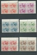 Spain 1907 Madrid Industry Exposition Set 6 Perf. 10.8 Matched Marginal Blocks Of 4 Fresh MNH - Unused Stamps