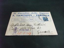 CARTOLINA POSTALE AL PARADISO DELLE SIGNORE F. SANTUCCI PERUGIA PIAZZA G. MATTEOTTI MERCERIE LANE GUANTI CALZE CRAVATTE - Perugia