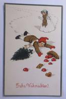 """""""Weihnachten, Kinder, Unfall, Tannenbaum, Äpfel"""" 1913, Prägekarte ♥  - Unclassified"""