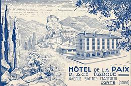 CORTE - ETIQUETTE D'HOTEL POUR BAGAGE - HOTEL DE LA PAIX - PLACE PADOUE (DIM 12 X 8) - Oude Documenten
