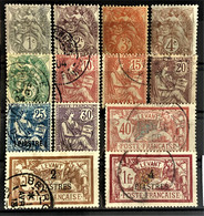 LEVANT 1902/10 - MLH/canceled - YT 9-21 - Oblitérés