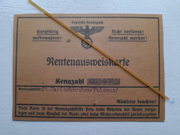 WW2 German Interest - Third Reich Pensioners Identity Card  - Scroll Down To Read More Info On Item - 1939-45