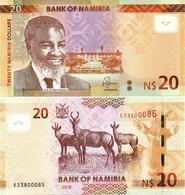 NAMIBIA        20 Dollars        P-17[b]        2018        UNC - Namibia
