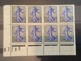 FRANCE - 1960-61 - Bloc De 8 Semeuses Bord De Feuille - N ° 1234A - Neuf ** - Nuevos