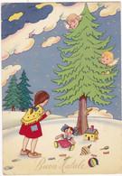 Fêtes : NOËL : Buon Natale : Enfant Avec Jouets Dans La Neige Et Les Anges Dans Le Sapin - Grand Format - Dorure - Otros