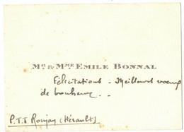 OCCITANIE HERAULT PTT ROUJAN LA POSTE CARTE DE VISITE DE MR & MME EMILE BONNAL - Visiting Cards