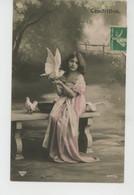"""ENFANTS - LITTLE GIRL - MAEDCHEN - Jolie Carte Fantaisie Portrait Fillette Avec Oiseaux """"CENDRILLON """" - Portraits"""