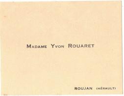 OCCITANIE HERAULT ROUJAN CARTE DE VISITE DE MME YVON ROUARET - Visiting Cards