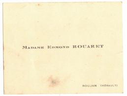 OCCITANIE HERAULT ROUJAN CARTE DE VISITE DE MME EDMOND ROUARET - Visiting Cards